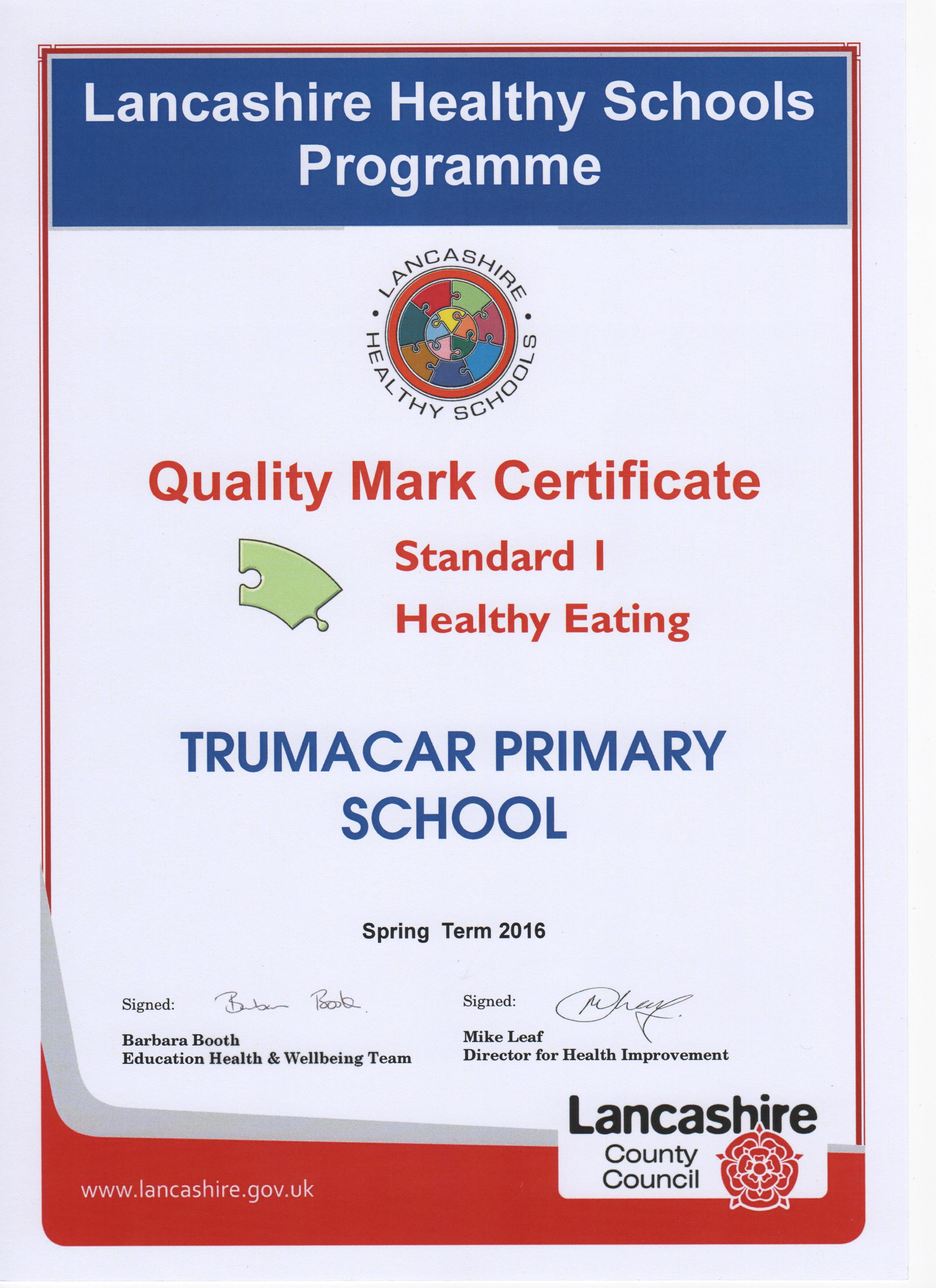Certificate 1 Healthy Eating